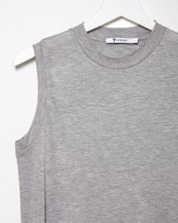 T By Alexander Wang - Gray High Neck Jersey Tank Top - Lyst