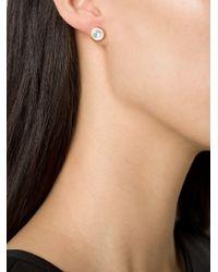 Marie-hélène De Taillac | Metallic 14kt Gold Moonstone Stud Earrings | Lyst