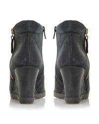Dune Black Pacino Zip Detail Wedge Boots