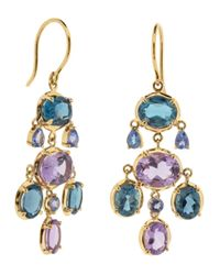 Dinny Hall | Metallic Gold Kandy Amethyst And Tanzanite Drop Earrings | Lyst