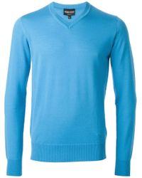 Emporio Armani - Blue V-Neck Sweater for Men - Lyst