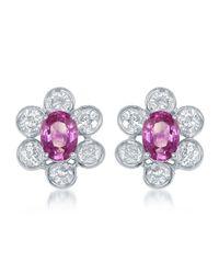 Diana M. Jewels - Metallic 18k White Gold Pink Sapphire & Diamond Flower Button Earrings - Lyst