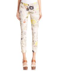 Etro White Floral-print Skinny Jeans