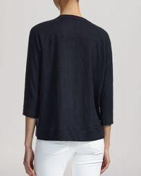 Whistles | Blue Tee - Holly Three-quarter Sleeve Linen | Lyst