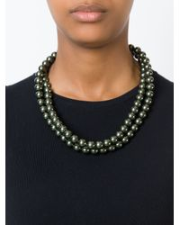 Stella McCartney | Black Double Row Pearl Necklace | Lyst