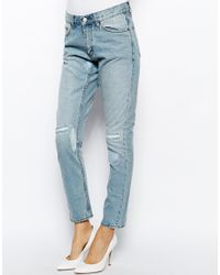 Cheap monday Thrift Boyfriend Jeans With Distressing in Blue | Lyst
