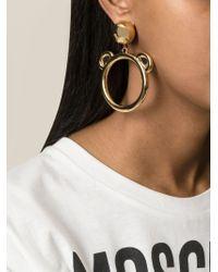 Moschino | Metallic Teddy Bear Hoop Earrings | Lyst