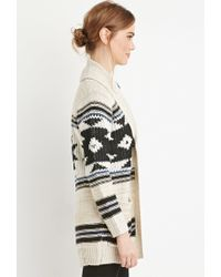 Forever 21 | Black Geo-patterned Open-front Cardigan | Lyst