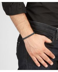 Bottega Veneta Metallic Ebano Intrecciato Antique Silver And Nappa Bracelet for men