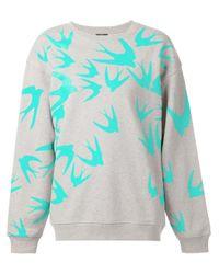 McQ Blue Swallow-Print Cotton Sweatshirt