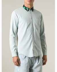 MSGM - Blue Palm Tree Collar Denim Shirt for Men - Lyst