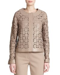 ESCADA - Natural Leather Lattice-weave Jacket - Lyst