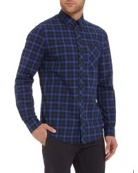 Ben Sherman | Blue Pop Tartan Check Long Sleeve Shirt for Men | Lyst