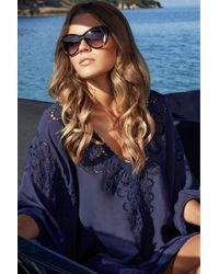 Melissa Odabash | Blue Embroidered Voile Cover-up Jessica | Lyst