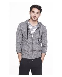 Express - Gray Marled Zip Hoodie for Men - Lyst