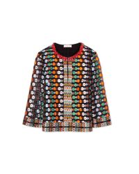 Tory Burch Multicolor Valerie Beetle Print Wool Blend Cardigan