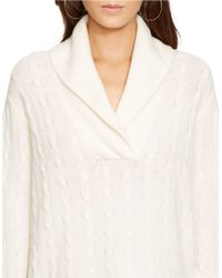 Polo Ralph Lauren   Natural Merino-cashmere Shawl Sweater   Lyst