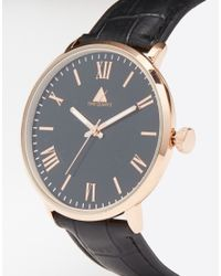 ASOS - Metallic Watch With Roman Numerals In Black And Rose Gold for Men - Lyst
