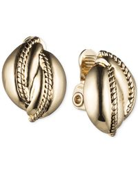 Jones New York | Metallic Silver-tone Rope Twist Clip-on Stud Earrings | Lyst