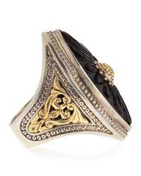Konstantino Black Carved Marquise Onyx Iris Ring