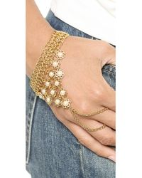 Ben-Amun Metallic Imitation Pearl Chain Hand Piece - Gold/Pearl