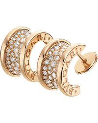 BVLGARI | B.zero1 18ct Pink-gold And Diamond Earrings | Lyst