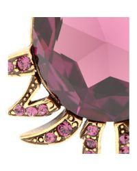 Oscar de la Renta | Purple Crystal-embellished Clip-on Earrings | Lyst