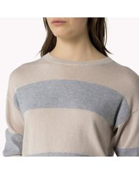 Tommy Hilfiger | Gray Cotton Blend Striped Sweater | Lyst