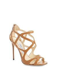 Jimmy Choo | Brown 'leslie' Caged Sandal | Lyst