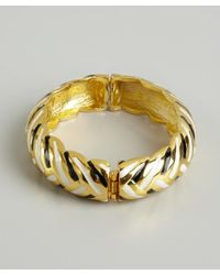 Kenneth Jay Lane - Metallic Gold And Striped Snap Bangle - Lyst