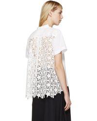 Sacai White Star Lace T-shirt