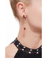 Jacquie Aiche Freeform Pink Tourmaline Pave Green Tourmaline Bar 2 Diamond Bezel Chain Earrings