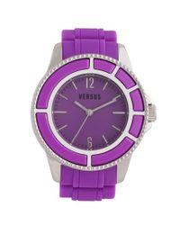 Versus Purple 'tokyo' Rubber Strap Watch