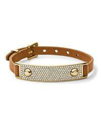 Michael Kors - Metallic Pave Plaque Leather Bracelet - Lyst