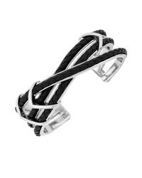 Cole Haan | Black Chevron Leather Cuff Bracelet | Lyst