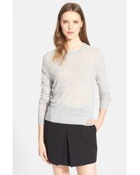 Vince - Gray Lightweight Crewneck Sweater - Lyst
