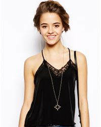 Orelia - Metallic Open Star Long Necklace - Lyst