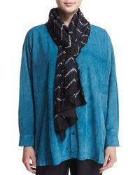 Eskandar - Blue Chevron Shibori Silk Scarf - Lyst