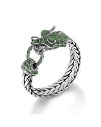 John Hardy - Green Dragon Head Bracelet On Large Rectangular Chain - Lyst