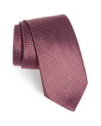 Ermenegildo Zegna - Red Grid Silk Tie for Men - Lyst