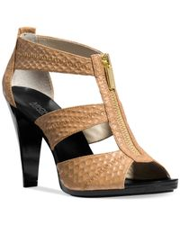 Michael Kors | Brown Cecily Leather Platform Sandals | Lyst