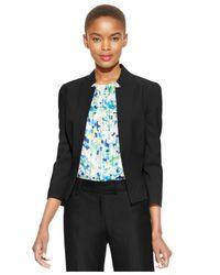 Tahari | Black Petite Solid-crepe Peplum Jacket | Lyst