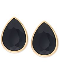 Tahari | T Gold-tone Jet Black Stone Stud Earrings | Lyst