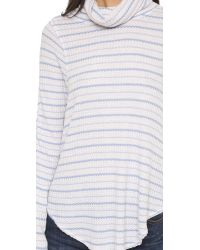 Free People | Blue Striped Drippy Thermal - Oatmeal/sky | Lyst