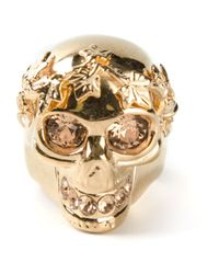 Alexander McQueen | Metallic Ivy Skull Cocktail Ring | Lyst
