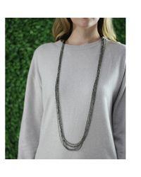 Brunello Cucinelli - Black Multi-strand Pyrite Necklace - Lyst