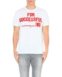 DIESEL White T-napol For Successful ----------ing T-shirt for men