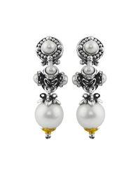Konstantino | White Silver & 18k Multi-pearl Triple-drop Earrings | Lyst