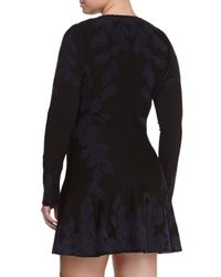 Zac Posen Blue Contrast-Embroidered Flared Skirt Dress