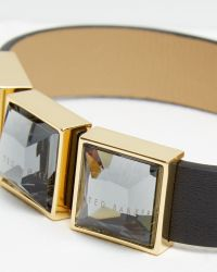 Ted Baker - Black Leather Crystal Cube Bracelet - Lyst